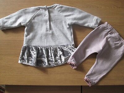 Next Girls Pretty Velvet Trim Tunic Top & Leggings - 3-6 Months