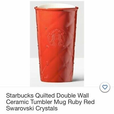 [Starbucks]  Red Quilted Swarovski Double Wall Traveler - 10 oz