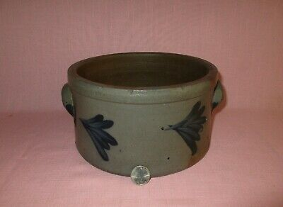 Antique 19th C Stoneware Decorated Pennsylvania Small Cake Crock w/ Handles
