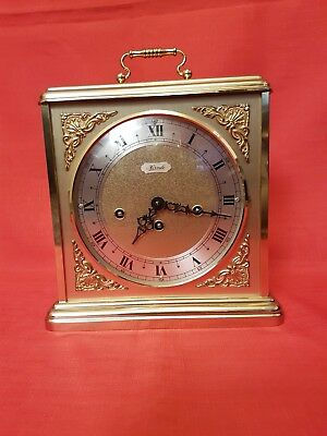 Large Franz Hermle Wind-Up Chiming Brass Carraige/Mantle Clock (340-021).