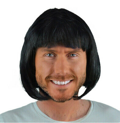 Black Bob Fancy Dress Wig, 60's, 70's, 80's, Movie, Disco, Hippie, Funny. UK