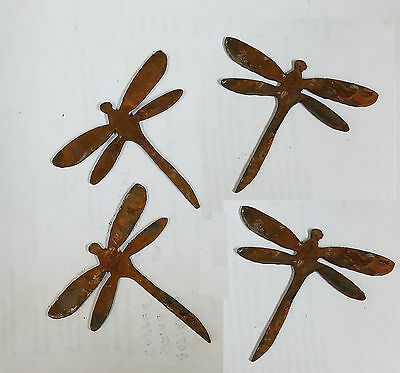 "Lot of 4 Dragonfly Bug Shape 3"" Rusty Metal Vintage Ornament Craft DIY Sign"
