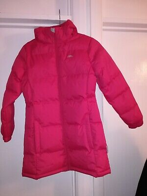 Girls Pink Trespass Padded/Puffer Waterproof Hooded Winter Coat Age 9-10