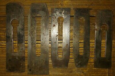 Lot Of 5 Vintage Planer Blades Wood Tools Cutter Stanley Fulton Ohio Tool Co.