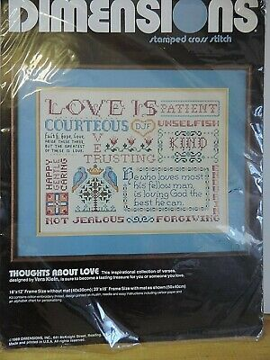1989 Dimensions Stamped Cross Stitch Sampler* Thoughts About Love* #3094