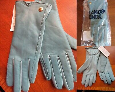 NWT Lands End Womens Spandex & Leather Gloves Size Medium