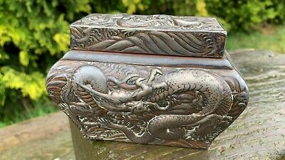Beautiful Vintage Chinese Oriental Decorative Dragon Design Tea Caddy Box *