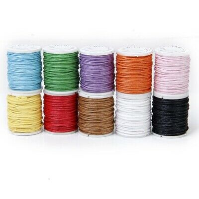 10 Rolls Color Mixed Cord Cotton Wax String 1mm wire for Pearl M5M9