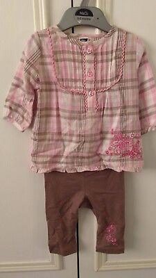 M&Co cute baby girls embroidered outfit top & leggings BNWOT age 3-6 months