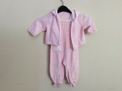 Vintage St Michael Terry Towelling Dungarees And Jacket Size 6-12 Months