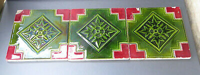 """Set of 3 Unusual Decorative Antique Majolica Red & Green Ivy Leaf Tiles,  6x6"""""""