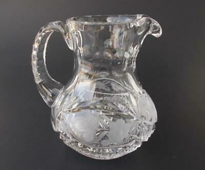Vintage Heavy Cut Pressed Glass Pitcher Syrup or Cream Etched Grapes Leaves 8 oz