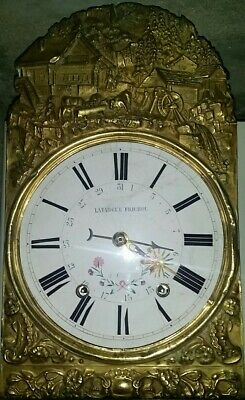 Beautiful French Antique Comtoise Morbier Clock With Key Fully Works