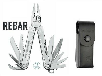 ~NEW~ Leatherman Rebar Multi-Tool, Stainless w/ Leather Sheath 831551 USA  MADE