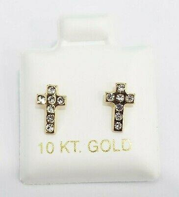 9ct Yellow Gold 375 Stamped Ladies Cross Studs Earrings 10mmX8mm Free Post