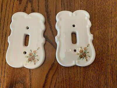 Vintage Ceramic Floral Switch Plate Shabby Chic Cottage