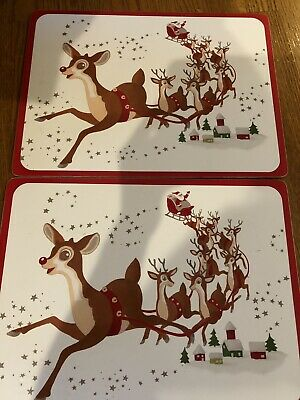 Set of 2 Pottery Barn Kids Christmas Santa Rudolph Reindeer Cork Placemats