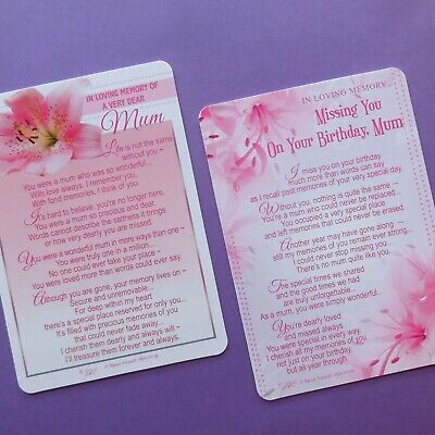 Memorial Graveside Card Missing You On Your Birthday / Memory Of A Dear Mum
