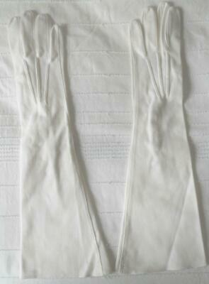 Pr Vintage 60S White Cotton Simplex Above Elbow Length Gloves Made Italy 7 1/2