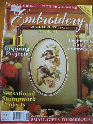 EMBROIDERY & CROSS STITCH MAG VOL 9# 11  Kookaburra stumpwork Aust sampler wren