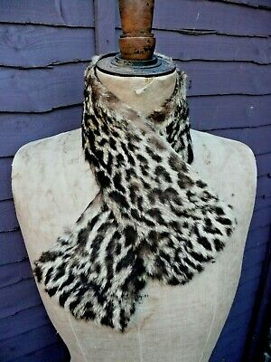 Removable 1930s Vintage Lippi Real Fur Spotted Animal Print Collar (B4)