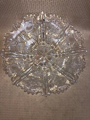 Antique American Brilliant Cut Glass Crystal Abp Bowl Stars Thistles Footed