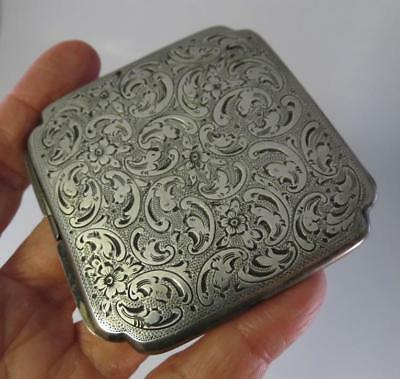 Edwardian Ornate Hand Chased 800 Silver Powder Mirror Ladies Compact