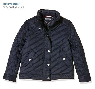 NEW Tommy Hilfiger Girls Navy  Quilted Jacket Designer Coat AGE 14 New with tags