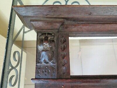 Unique Antique Hall Rack Or Fireplace Mantel Piece With Lion Carved Detail