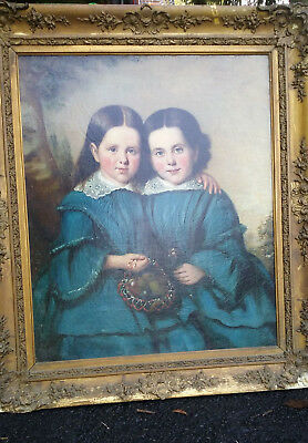 ORIGINAL ANTIQUE CHARMING 19th Century Portrait Painting of Two Girls, c 1840