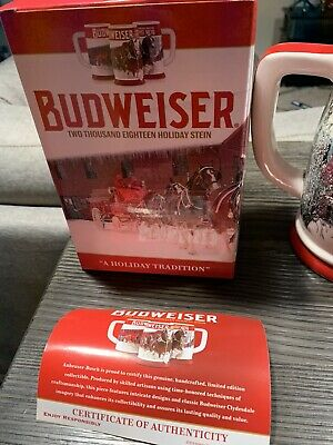 2018 Budweiser Holiday Stein. New w/ Box and COA.