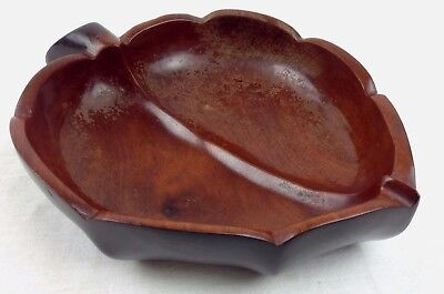 Vintage Hand Carved Solid Mahogany Nut Bowl Wood Snack Dish Made in Haiti