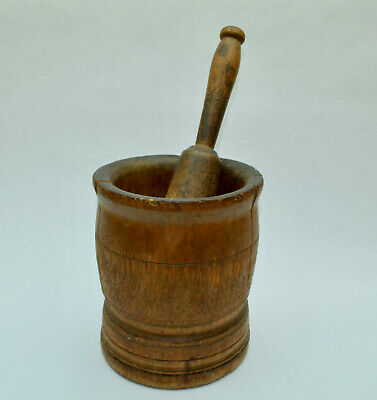 Rare Antique Colonial Period Wood Mortar And Pestle