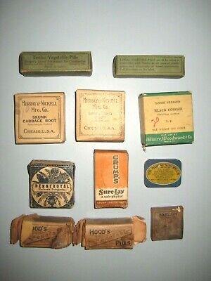 Lot of 11 Antique Herbel Packages Advertising Quack Medicines cork Bottles