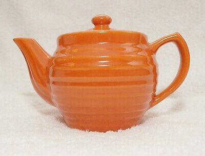 VINTAGE BAUER POTTERY Individual 2 Cup TEAPOT ORANGE RING WARE Exc Cond!