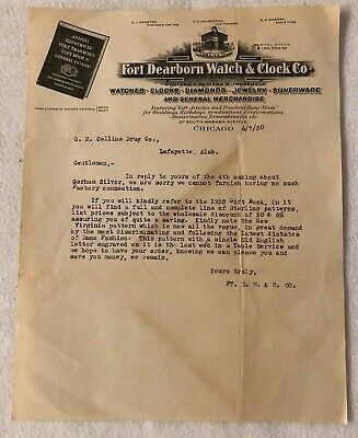 1930 Chicago Illinois FORT DEARBORN WATCH CLOCK Co. Letter - RARE!