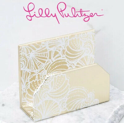LILLY PULITZER Seaside Letter Holder -Gold Leatherette - NIB - FREE SHIP!