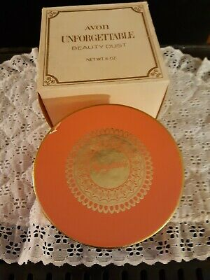 Avon UNFORGETTABLE Beauty Dust Container w/Body Powder 6 oz. USA Vintage NOS/BOX