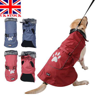 Dog Pet Waterproof Winter Rain Coat Warm Jacket Clothes SMALL to EXTRA LARGE UK