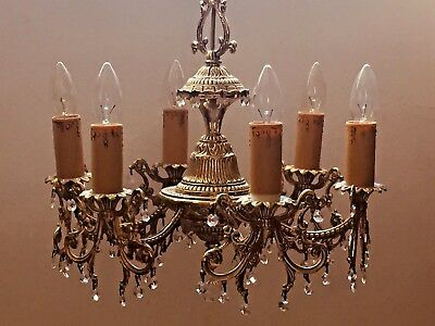Crystal and Brass Chandelier. Antique Ceiling Light Fitting, French/Spanish(174)