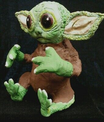 Mandalorian  Baby Yoda child star wars figurine sculpture figure doll 4 5/8 OOAK