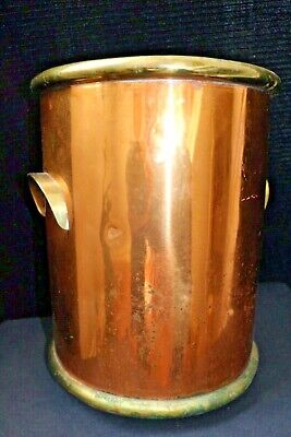 Outstanding Copper and Brass 19th Century Office Trash Can Waste Bucket