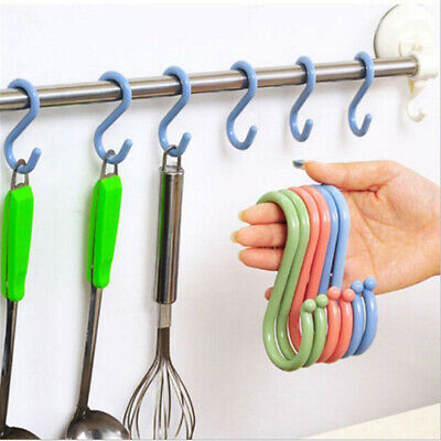 ALS_ S-Shaped Kitchen Hanging Hook No Punch Brushes Bags Clothes Hangers Wall Do