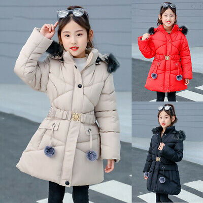 Winter Warm Girls Padded Coat Thick Quilted Jacket Fur Hooded Long Cotton Parka
