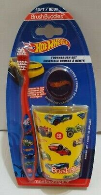 Brush Buddies Hot Wheels Toothbrush Set Toothbrush Cap and Cup