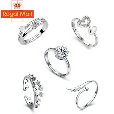 UK Womens 925 Sterling Silver Plated Adjustable Wedding Engagement Rings Gifts
