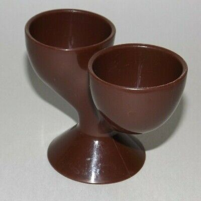 Double Brown Plastic Egg Cup ReTRo Vintage Early Plastic