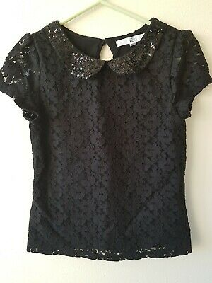 M&S Age 6-7 Years Black Labe Top Sequin Collar Christmas New Year Party Occasion