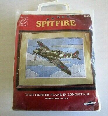 CREATIVE IMAGES  LONGSTITCH KIT - Spitfire WW2 Fighter Plane - Started