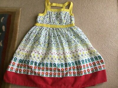 John Lewis Girls Lined Cotton Yellow/White Floral Summer Dress -New- Age 7yrs